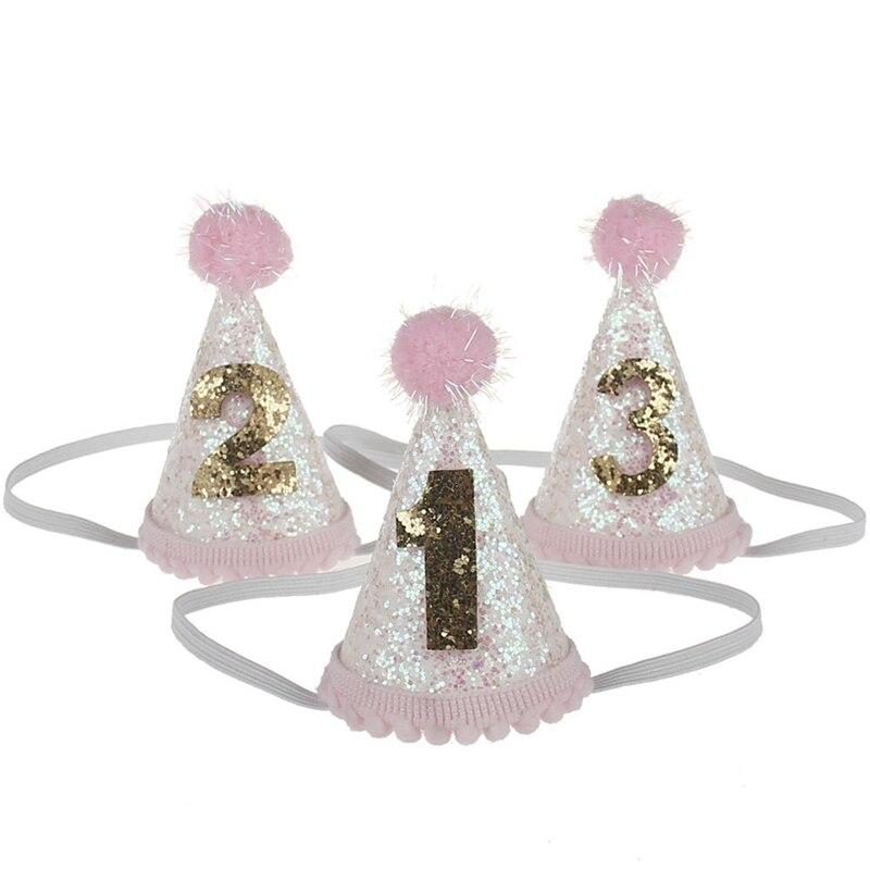 1pcs Baby Cute 1/2/3 Birthday Hats Dot With Hairball Cap Baby Shower Birthday Photo Props Children Decor
