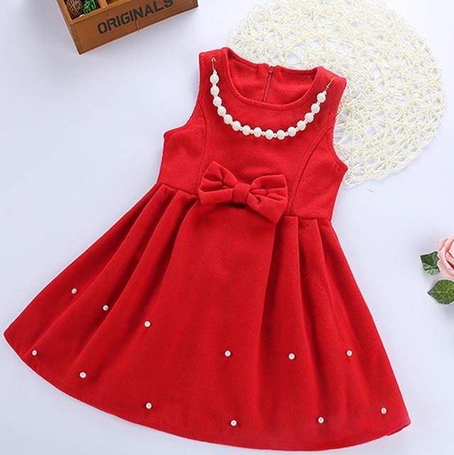 85fa1a007 Baby girl woolen dress winter vest for kid sleeveless princess dress ...