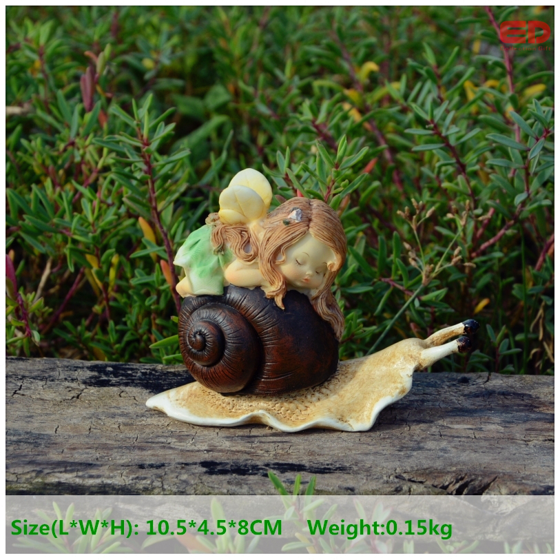 Everyday Collection New Year home decoration Resin cute angel snail figurines fairy garden wedding decoration birthday gifts