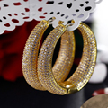 Large Hoop Earrings in Gold and White color Micro Setting high Quality Clear Cubic Zirconia Big sexy ladies Jewelry Earrings