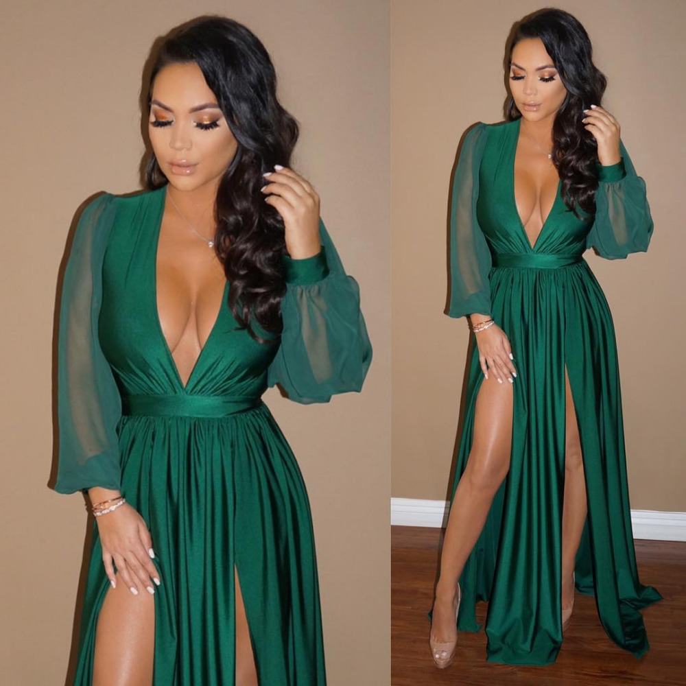 Emerald Green Evening Dresses With Long Sleeve Sexy V Neck Split Formal Wear For Women African ...