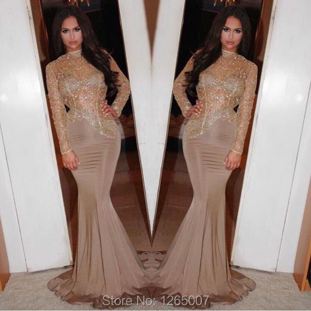 Popular Long Sparkly Fitted Mermaid Dresses Long Sleeve-Buy Cheap ...
