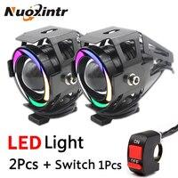 2PCS Universal LED Motorcycle Headlight U7 Motorbike Driving Fog Spot Head DRL Running Light Spotlight