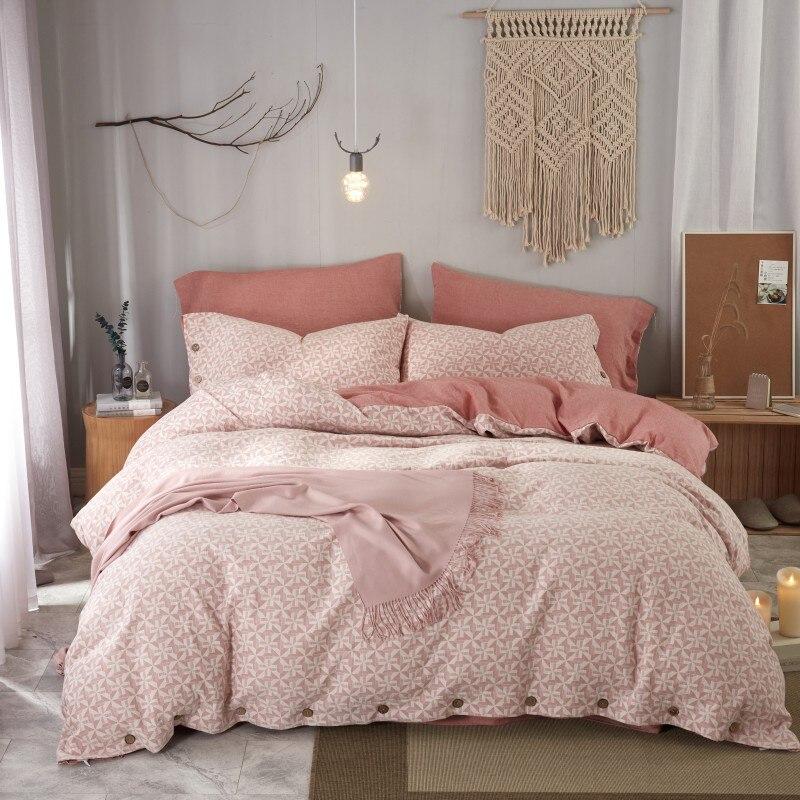 Juego de ropa de cama de algodón Jacquard teñido de hilo doble de los años 60 juego de sábanas tamaño King Queen con funda nórdica sábana plana de algodón con botón - 5