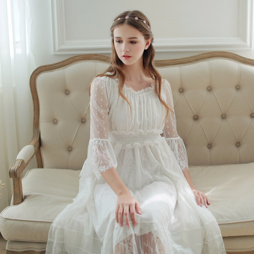 2018 New Spring Princess Nightdress Royal Pyjamas Women\'s Long ...