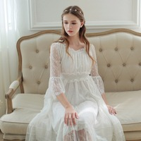 2018 New Spring Princess Nightdress Royal Pyjamas Women's Long Nightgown White Lace Sleepwear Can Outer Wear SA16046