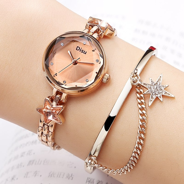 Disu Brand Bracelet Dress Quartz Watches For Women Luxury Rose Starry Star Desgi