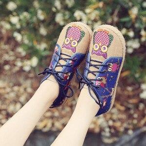 Image 3 - Veowalk винтажные женские туфли из тайского хлопка и льна с вышивкой Совы тканевые туфли на плоской подошве с круглым носком на шнуровке