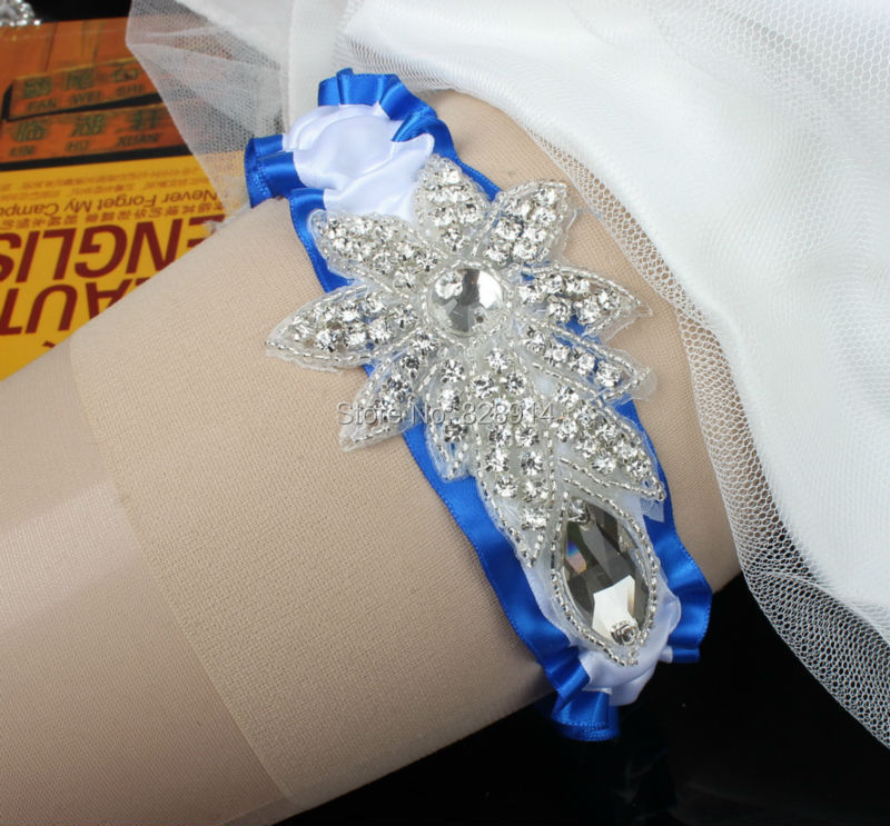 Luxury Ribbon Wedding Garter with Rhinestones Applique and Pearl Char Handmade OEM Order