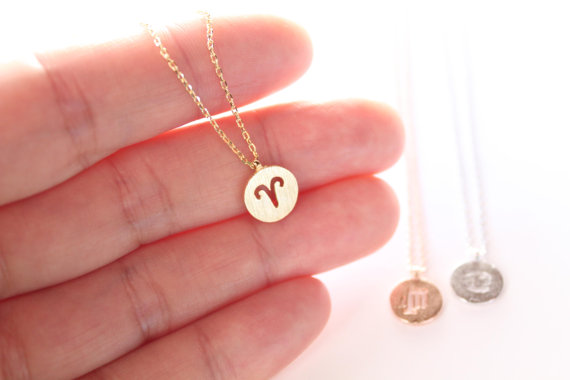 1PCS- Ariel Aries Necklace Signs 12 Star Zodiac Constellation Necklace Horoscope Astrology Disc Necklace Galaxy Necklaces