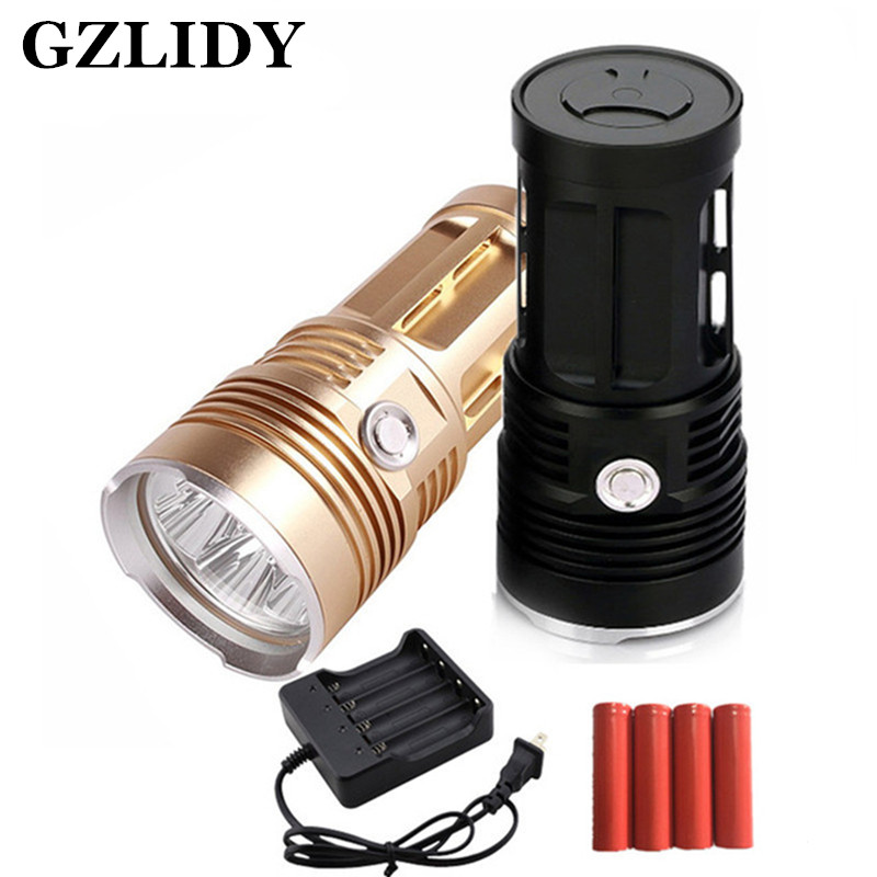 zk30 led flashlight MI-5 10000 lumen Camp Hunting Torch 5x Cree XM-L T6 tactical Lantern suitable 4x18650 battery ru zk50 led flashlight 3x 5x 7x 9x cree xm l t6 lamp beads led torch flash light tactical lantern for hunting camping no battery