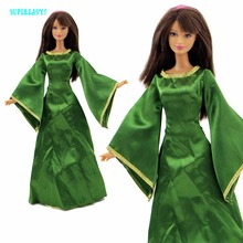 Exotic Queen Dress Fairy Tale Costume For Princess Merida Mother Clothes For Barbie Doll FR Kurhn Play House COSPLAY Kid Gift