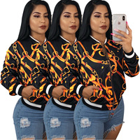 Hot European and American women's fashion chain printing long sleeved coat sweater