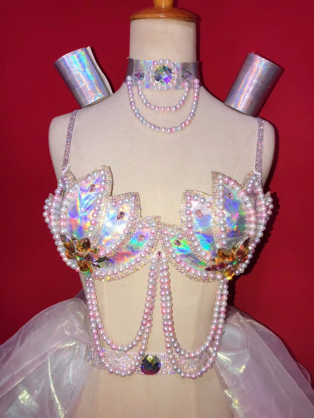 Pearls Rhinestones Bikini Sexy Bra Shorts Mini Skirt Set Nightclub Bar DJ Female Singer Costume Teams Catwalk Dance state Wears
