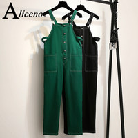 ALICENO Summer 2XL 6XL Big Size Fitness Body Wear Ankle Length Solid Black Green Color Women Jumpsuits Overalls Bodysuit