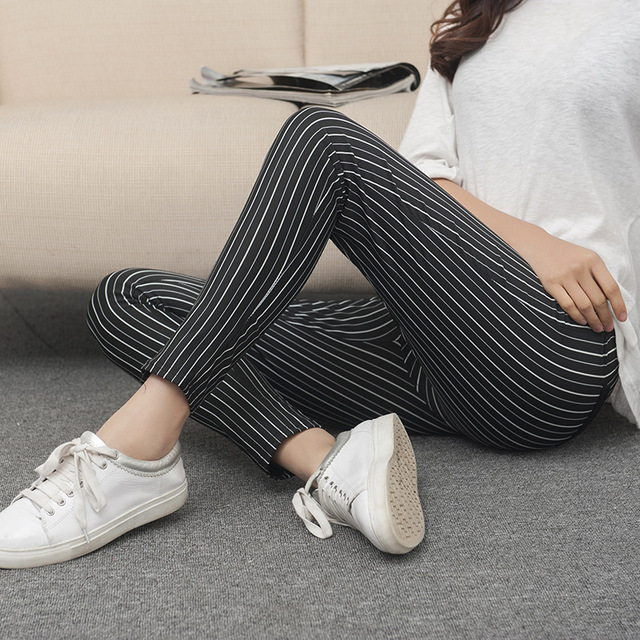 Plus Size! Abner Spring & Summer Black and White Stretch Striped Leggings Fashion Slim Ankle Length Pencil Pants With Button