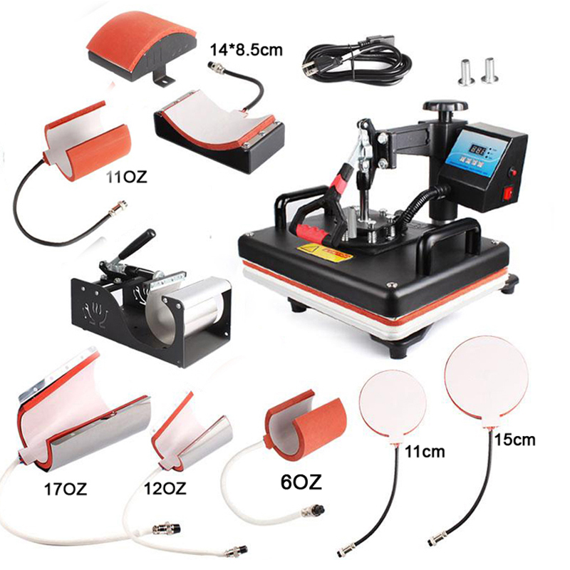 30*38CM 8 in 1 Combo Heat Press Machine Sublimation Printer 2D Thermal Transfer Cloth Cap Mug Plate T-shirt Printing Machine cheap manual swing away heat press machine for flatbed print 38 38cm