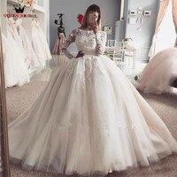 Custom Made Princess Long Sleeve Fluffy Lace Beading Luxury Plus Size Wedding Dresses Wedding Gown 2018 Vestidos De Novia WS22