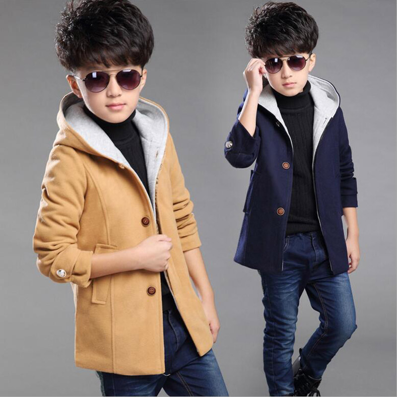 Teenage boy hooded jacket kids autumn winter windbreaker for boys thicken pure wool coat for boys outerwear children clothes boys lamb wool jacket coats winter boy coat children fashion outerwear kids clothes boutique clothing