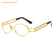 5f194acb0c6 LongKeeper clear fashion gold round frames eyeglasses for women vintage  steampunk round glasses frames for men
