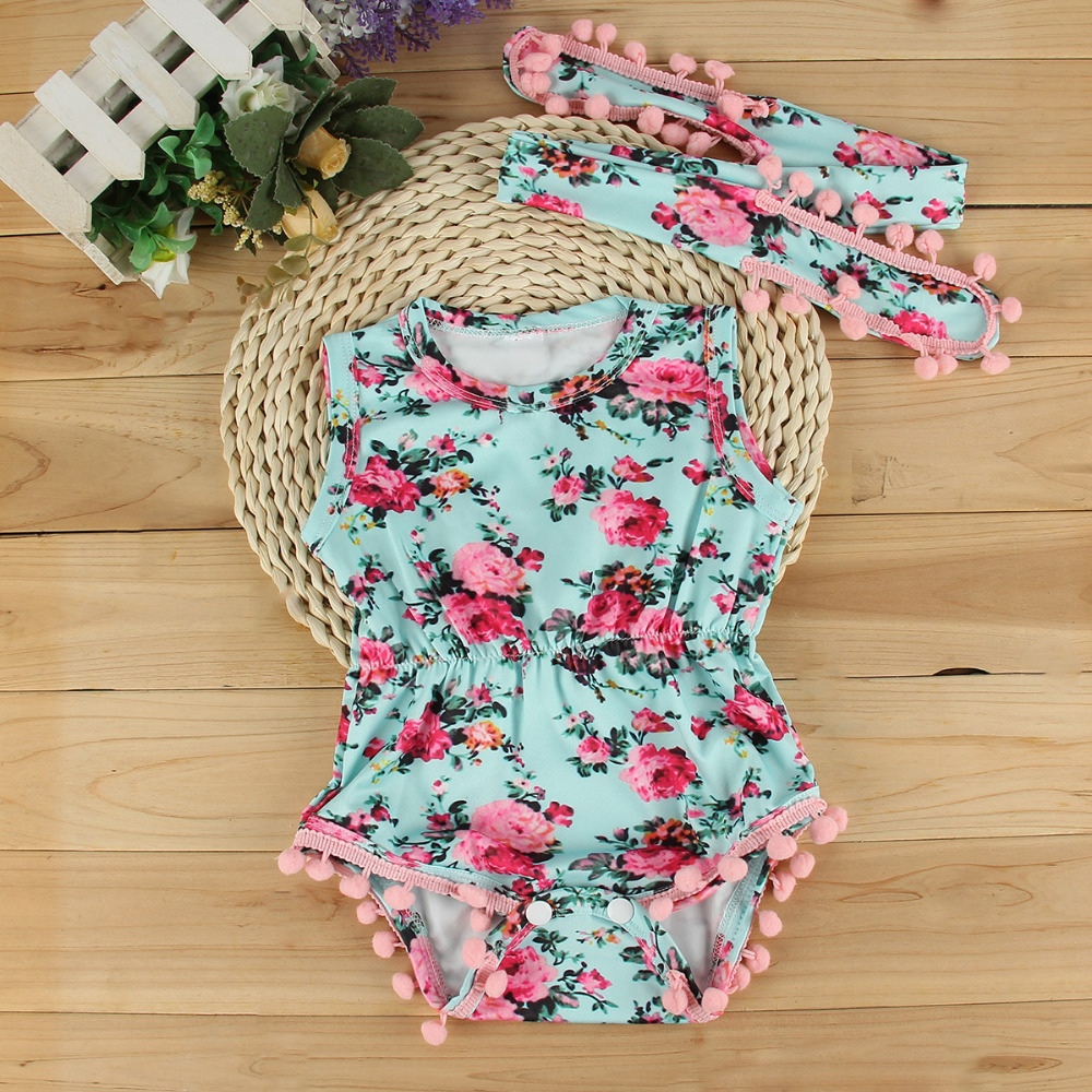 e07beb611 Baby clothing set baby girls vintage floral romper toddler girl rompers  onesie baby jumpsuit toddler girl romper-in Rompers from Mother & Kids on  ...