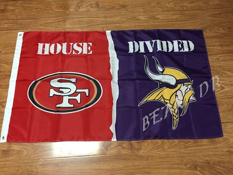 San Francisco 49ers With Minnesota Vikings Usa House Divided Premium Team Football Flag 3x5ft