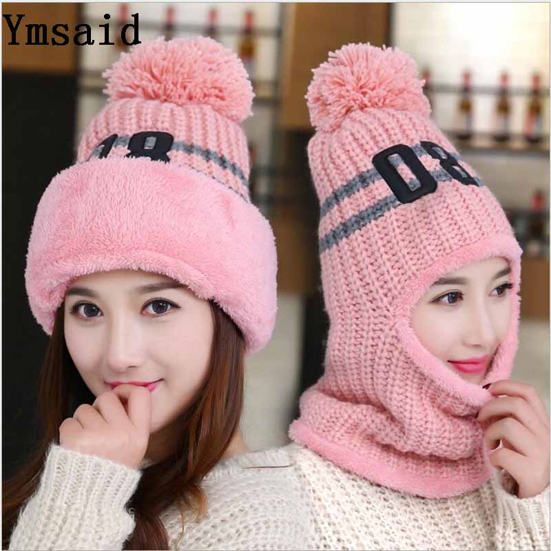 15db6727a57 Winter Women Knitted Hat Scarf Set Fashion Wool Thickening Hat Collars  Female Warm Hat Scarf Set Casual Snow Caps