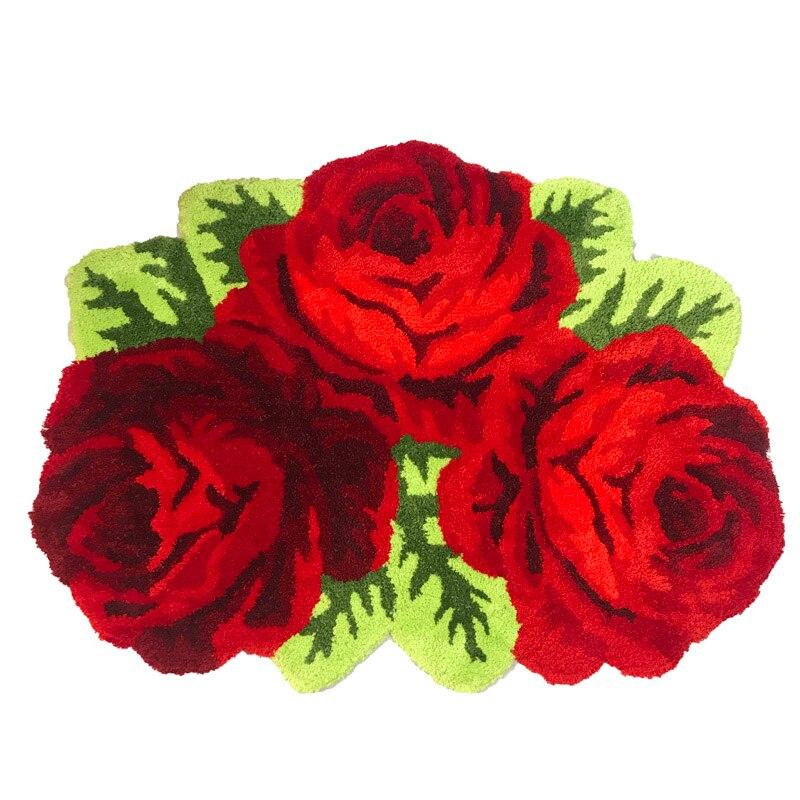 Пушистый Плюшевый красный розовый свадебный ковер мягкий ворсистый микрофибра нескользящий коврик для ванной коврик моющийся абсорбент ковер для гостиной/спальни - Цвет: Three Roses