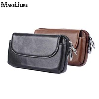 MAKEULIKE Genuine Leather Pouch For Samsung Galaxy S9 Universal Belt Clip Holster For Samsung S8 Plus