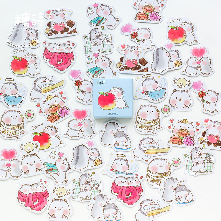 45pcs/pack Hamster Baby Paper Sticker Diary Label Stickers Decorative Stickers Scrapbooking DIY Stickers Baking Envelope Sealing