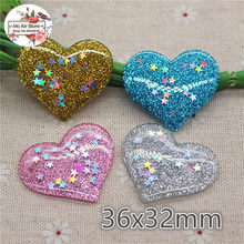 10pcs Mix Colors Resin shiny star in heart Flatback Cabochon DIY Hair Bow Center Scrapbooking craft 36x32mm(China)