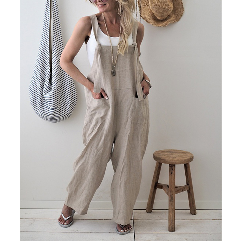 2020 Spring Summer Women Casual Loose Overalls Cotton Linen Solid Pockets Rompers Jumpsuit Womens Wide Leg Cropped Pants