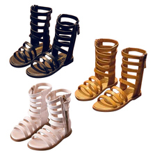 New 2019 Summer Girls Sandals Open-toed Long Zip High Gladiator Kids Shoes Baby Toddler Girl Sandals Cool Boots Cutout Shoes P25 цена 2017