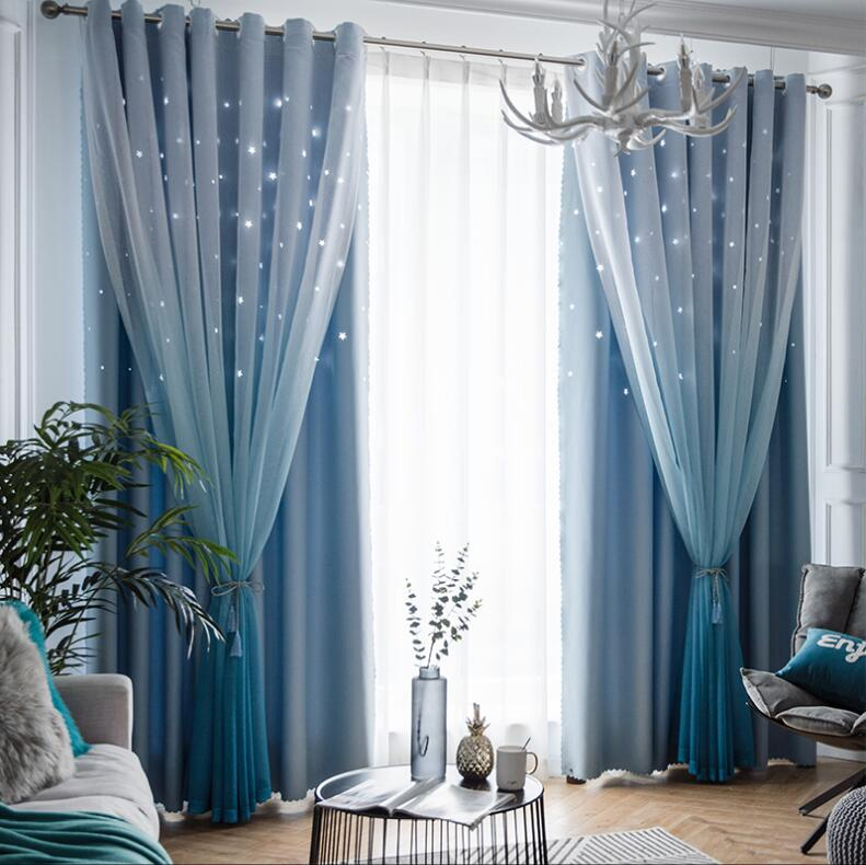 Nordic Ins Gradient Color Tulle Black Out Double Curtains with Star Tassel High Black Out Blinds