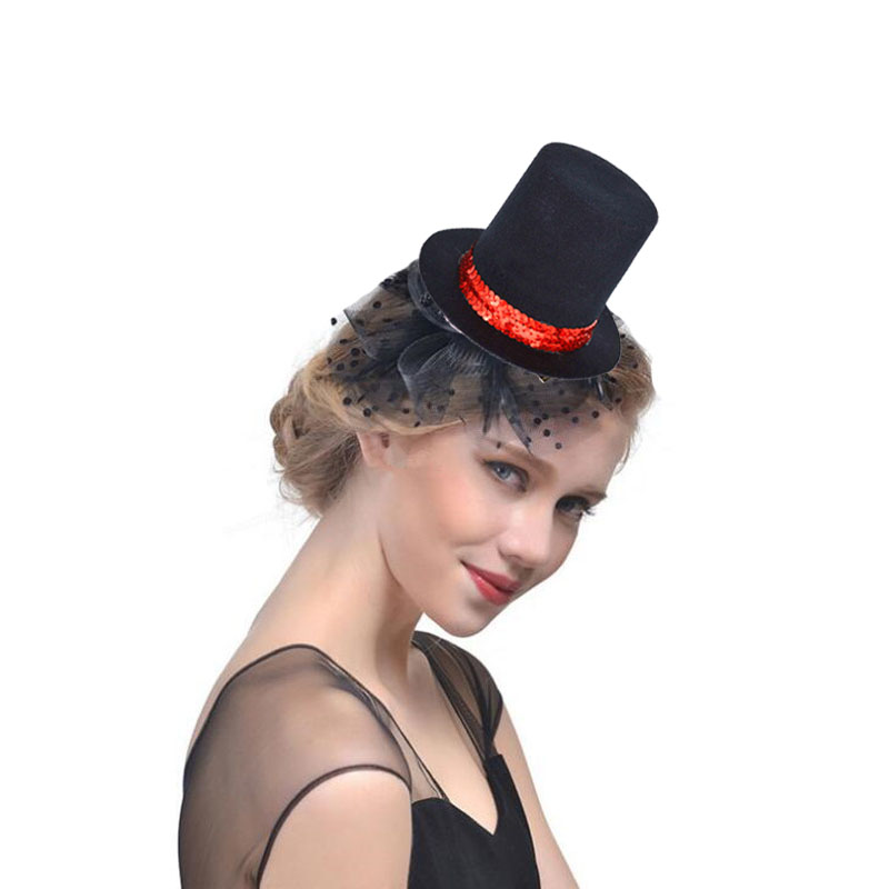 Red Glitter Mini Top Hat With Feathers Burlesque Show Girl Fancy Dress
