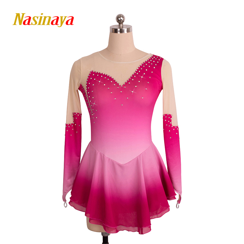 Customized Costume Ice Skating Figure Skating Dress Gymnastics Adult Child Girl Skirt Competition Gradient Rose Color Rhinestone vik max adult kids dark blue leather figure skate shoes with aluminium alloy frame and stainless steel ice blade