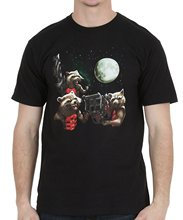 Tshirt O neck Summer Personality Fashion Men T shirts Guardians Of The Galaxy Rocket Moon Trio