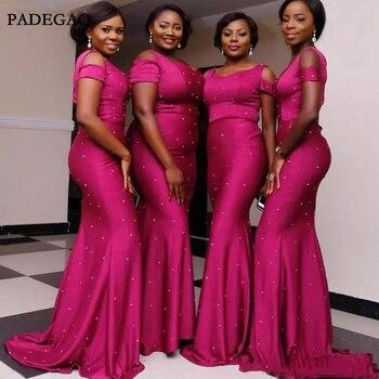 African Fuchsia Mermaid Bridesmaid Dresses Scoop Neck Floor Length Sweep Train Satin Long Wedding Party Dresses Maid of Honor