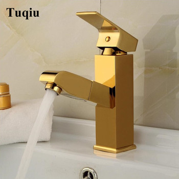 Faucet Gold Bathroom Basin Faucet Single Handle Single Hole Mixer Tap Deck Mounted Hot And Cold Tap Sink Brass Faucet