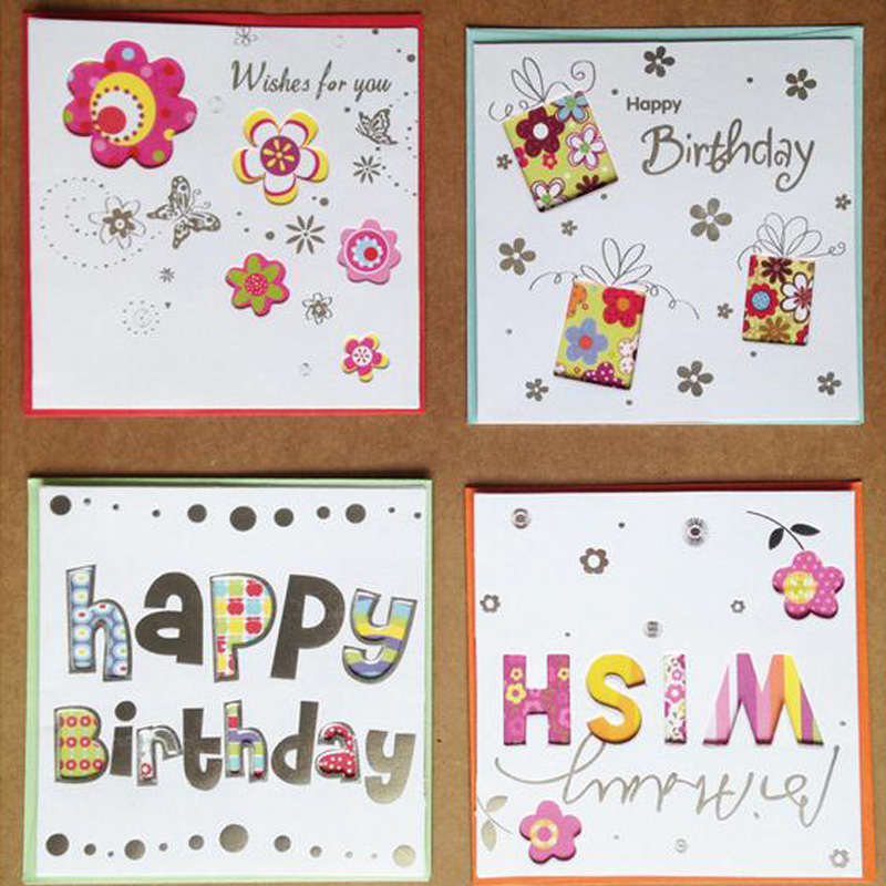 5pc Paper Laser Floral Children Birthday Greeting Cards Small ...