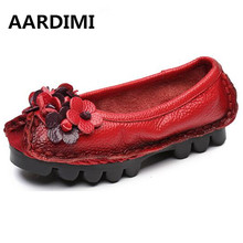 Top quality Handmade floral women shoes genuine Leather 5 colors spring loafers women flats ballet casual boat shoes woman