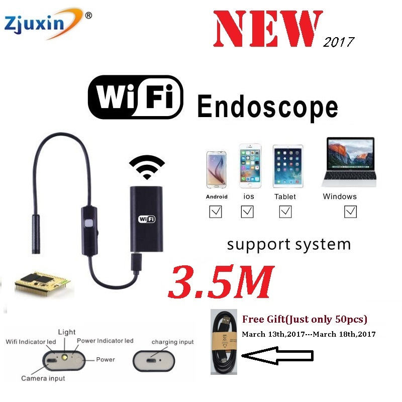 Endoscope 3.5m Cable Android IOS Wifi Endoscope 6 LED 8mm Lens Waterproof Iphone MINI Endoscope Inspection Borescope Camera industrial endoscope wifi with android and ios 720p 6 led 8mm waterproof inspection borescope tube camera with 2m cable no usb