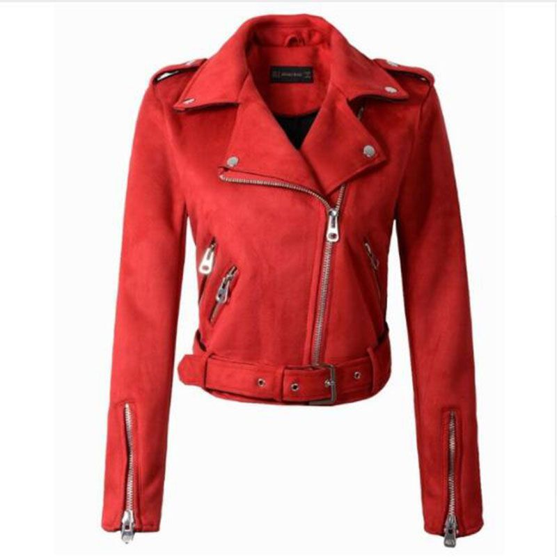 2019 New Arrial Women Autumn Winter   Suede   Faux   Leather   Jackets Lady Fashion Matte Motorcycle Coat Biker Gray Pink Beige Outwear
