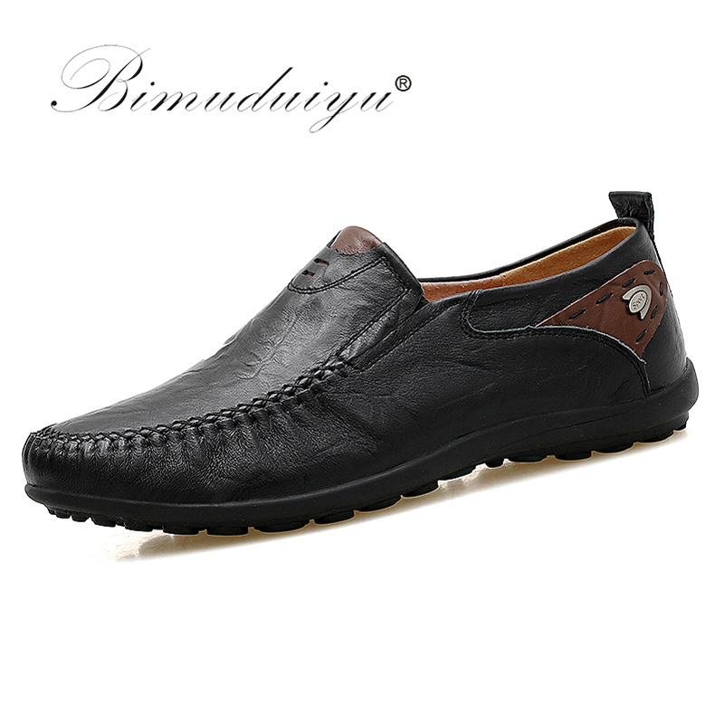 BIMUDUIYU Plus Size 38-47 Slip on Comfortable Leather Handmade Mens Loafers Men Casual Moccasins Male Breathable Driving Shoes genuine leather man casual shoes driving men loafers footwear breathable male sneakers moccasins slip on plus size 47 walkerpeak