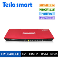 2018 Tesla Smart High Quality HDMI 2 0 USB HDMI KVM Switch 4 Port USB KVM