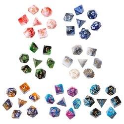 7 teile/satz Acryl Polyhedral Würfel Für TRPG Brettspiel Dungeons Und Drachen