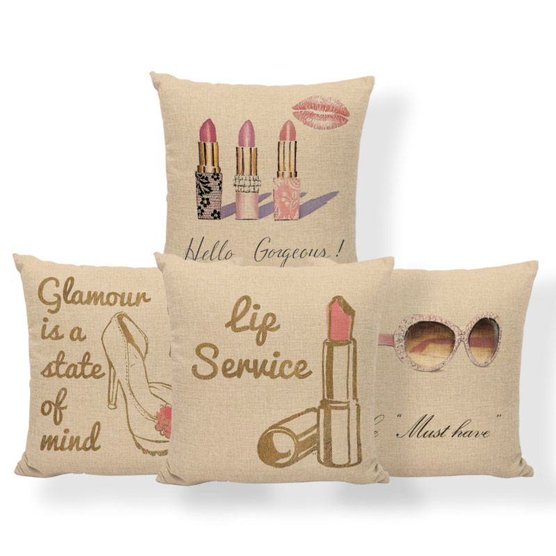 Lip Print High Heels Cushion Cover Glasses Underwear Pillow Case Childlike Farmhouse Nap Mat Throw Pillow Case 17.7Inch Linen