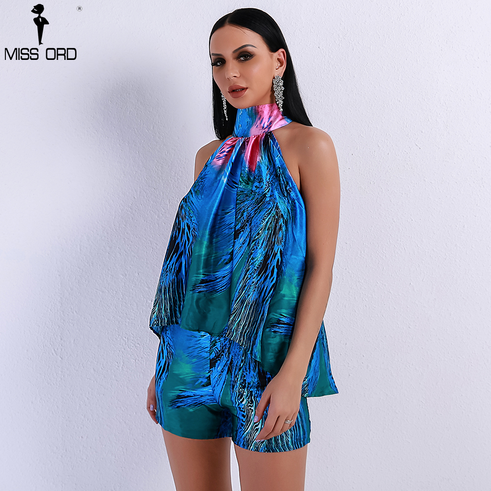 Missord 2019 Women Sexy Off Shoulder Print Two Pcs Set  High Neck Playsuit FT8852