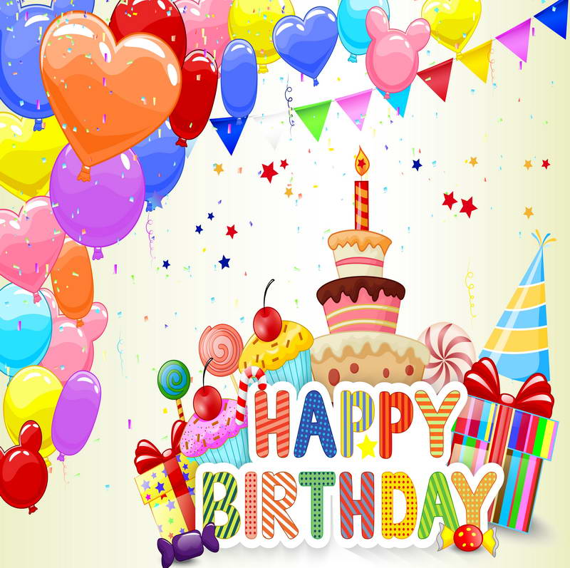Happy 1st Birthday Party Colorful Ballons And Cake Newborn Baby Background For Photo Studio -in