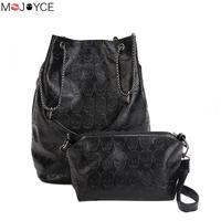 2pcs Vintage Skull Shoulder Bags Mochila Women Bucket Pu Leather Clutch Female Black Handbags Ladies Casual